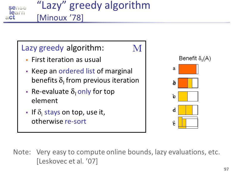 Lazy greedy algorithm [Minoux '78]